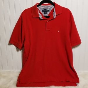 Tommy Hilfiger Red Polo Style Men's Top